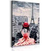 Schilderij - Romantisch Parijs , Vrouw met Rode Hoed