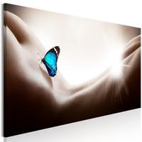 Schilderij - Vrouw en Vlinder