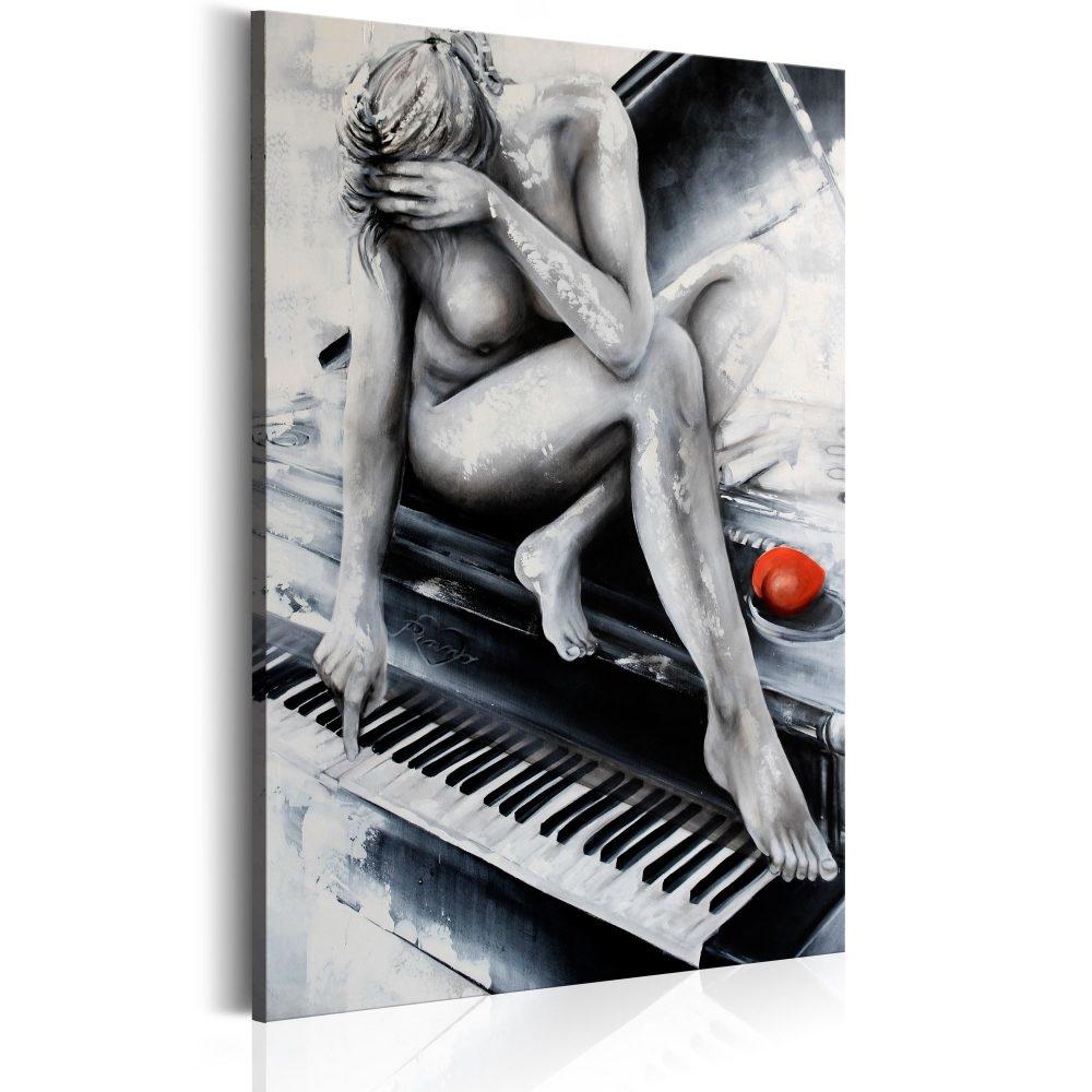 Schilderij - Vrouw met Piano