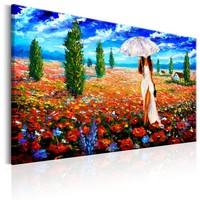 Schilderij - Vrouw met Paraplu in veld met bloemen