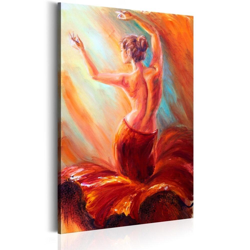 Schilderij - Vuur Danseres , vrouw in rode rok