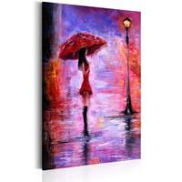 Schilderij - Vrouw met Paraplu in de regen