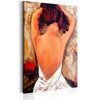 Schilderij - Onthulling van de Mysterie , Vrouw in witte Jurk