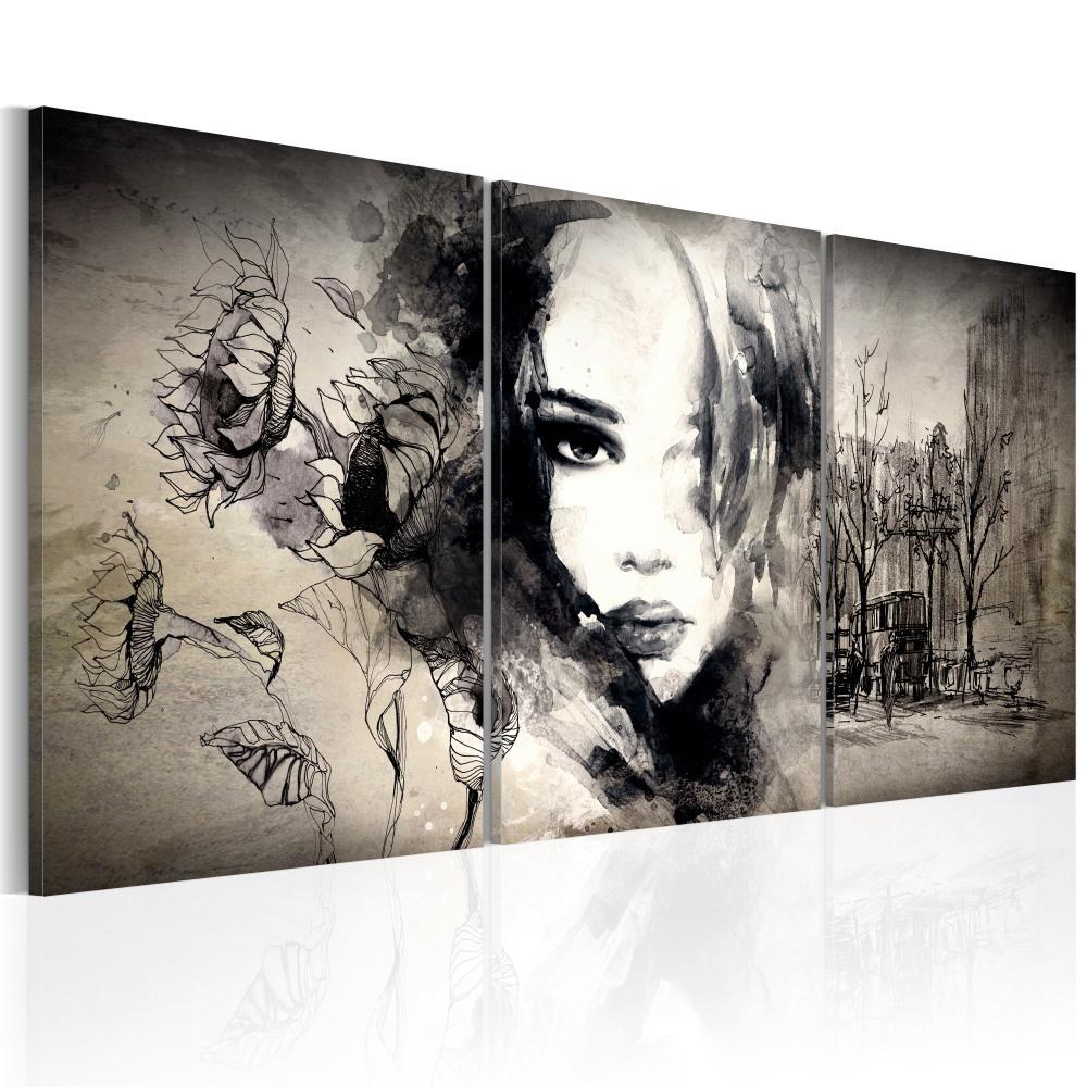 Schilderij -Vrouw voor Stadsgezicht , 3 luik