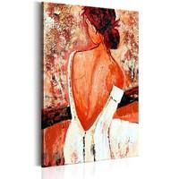 Schilderij - Debutante , Vrouw in Witte Jurk