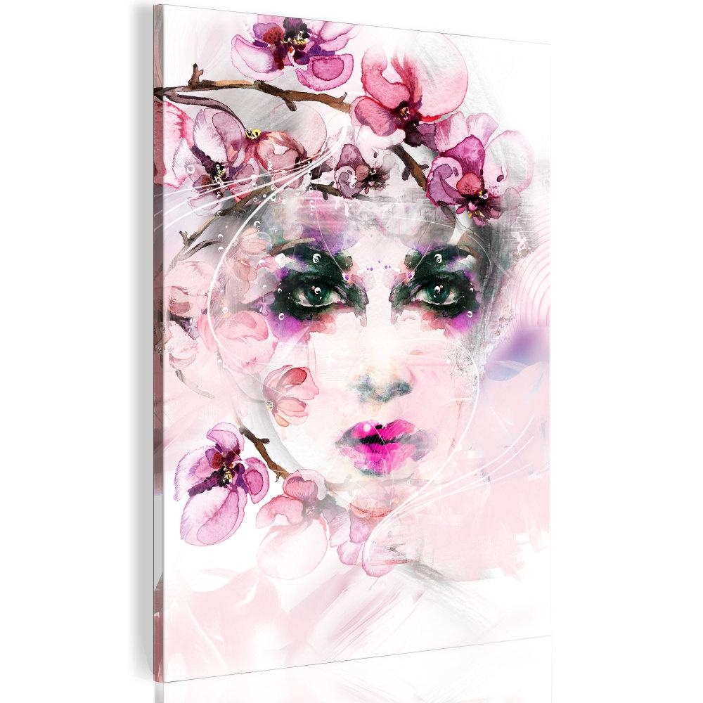Schilderij - Gezicht van een Vrouw tussen bloemen