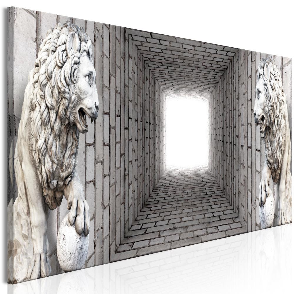 Schilderij -Licht in de Tunnel met Leeuwen