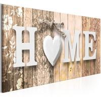Schilderij - Geuren van thuis, HOME, beige 100x45