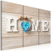 Schilderij - Huis : Blauwe Liefde, HOME, 3luik