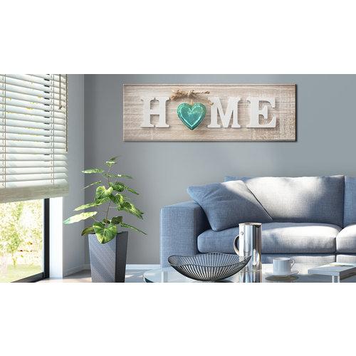 Schilderij - Huis: Blauw, HOME