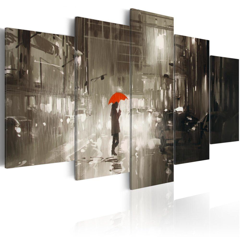 Schilderij - Vrouw onder rode paraplu in de stad , 5 luik