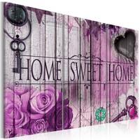 Schilderij - Home Sweet Home , Sleutel van een hart , 3 luik