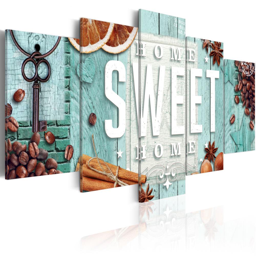 Schilderij -Aromatische Inspiratie , Home Sweet Home , Koffie ,5 luik