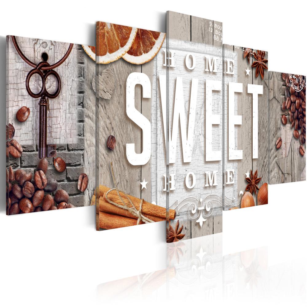 Schilderij - Home Sweet Home , koffie , 5 luik