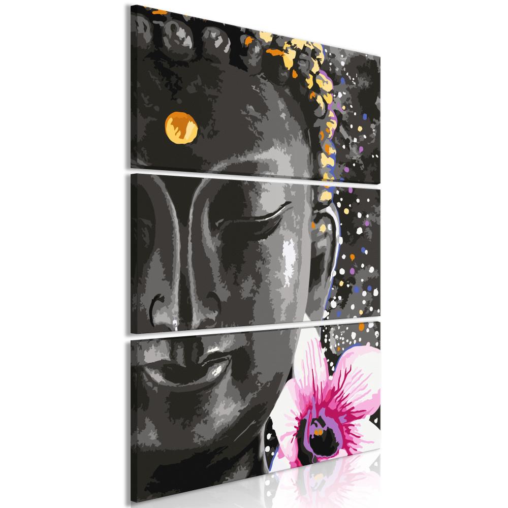 Schilderij - Boeddha met bloem , 3 luik
