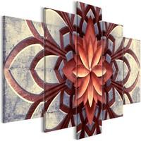 Schilderij - Mandala , Oranje , 5 luik