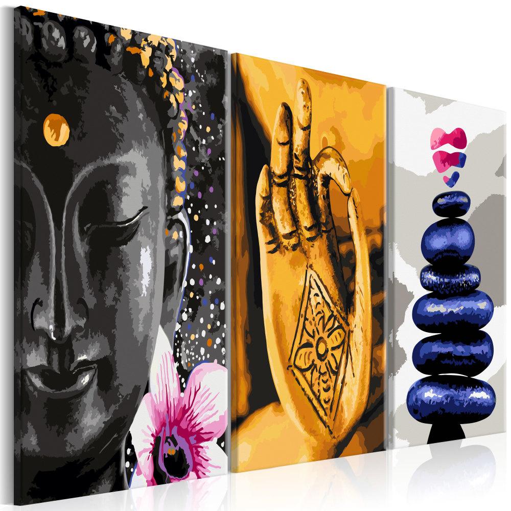 Schilderij -Oosters Trio , Boeddha ,Stenen, Zen , 3 luik