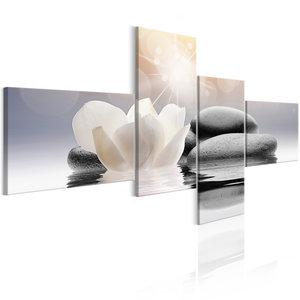 Schilderij - Kiezelstenen met water lelie , 4 luik , Zen