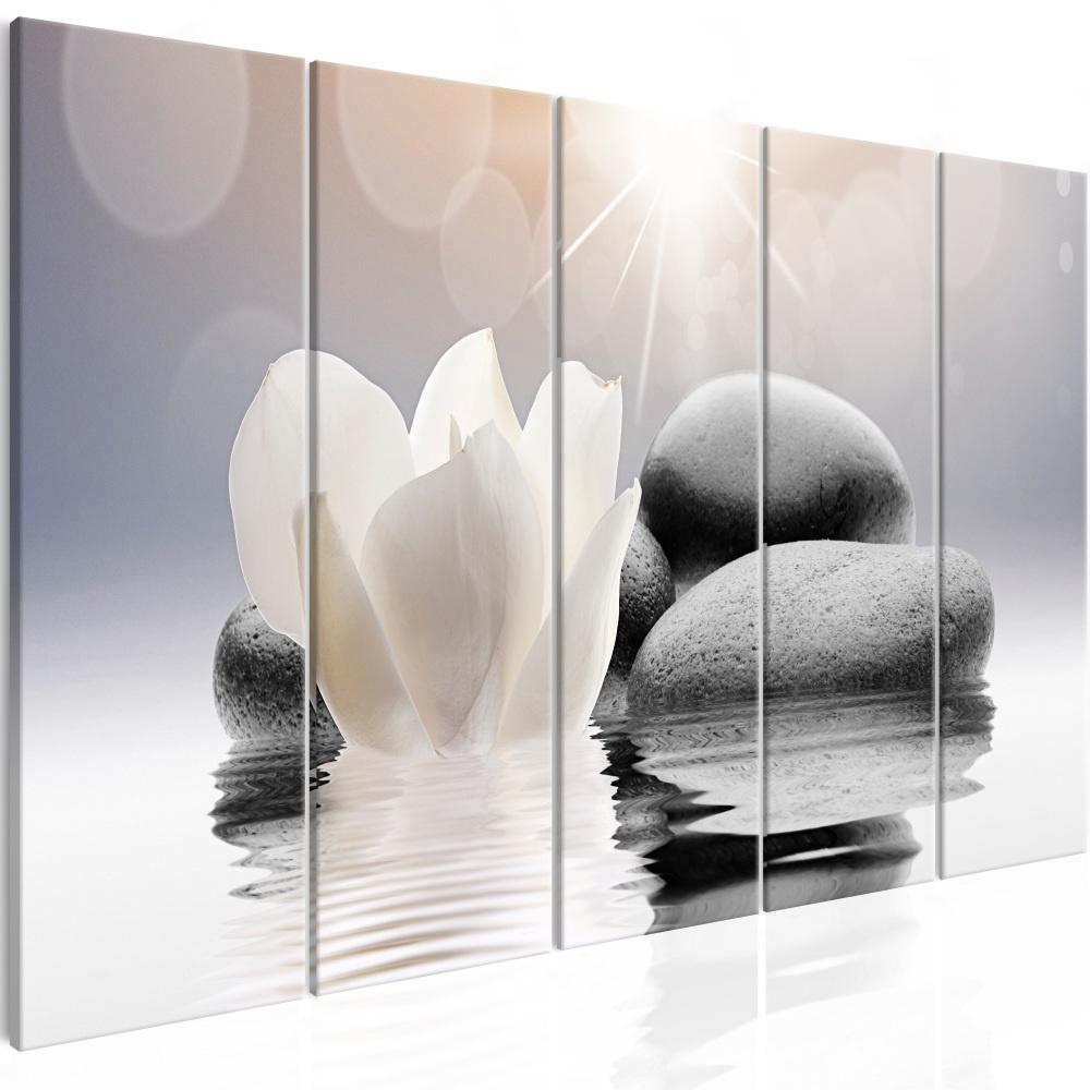 Schilderij - Kiezelstenen met water lelie , 5 luik , Zen