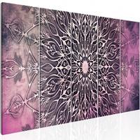 Schilderij - Roze Mandala , 5 luik
