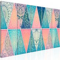 Schilderij -Oosterse Driehoeken , Mandala , 5 luik