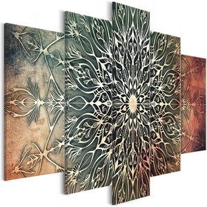 Schilderij - Herfst Mandala , 5 luik