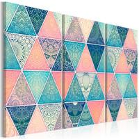 Schilderij - Oosterse Driehoeken , 3 luik , mandala