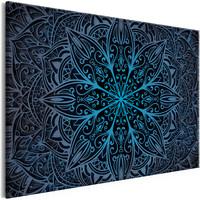 Schilderij - Oriëntale Bloemen III , Mandala , Blauw