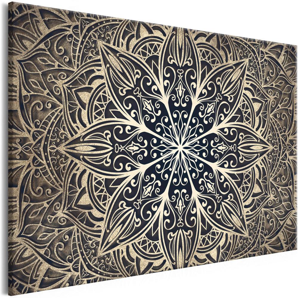 Schilderij - Orientale Bloemen , Mandala