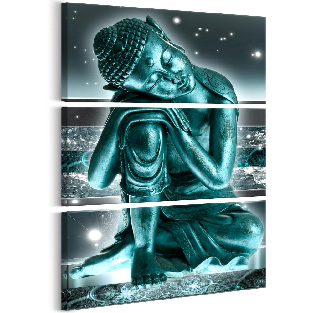 Schilderij - Groene Dromen , Boeddha in de nacht , 3 luik