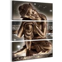 Schilderij - Boeddha in de nacht , 3 luik