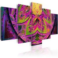 Schilderij - Mandala: Roze Kracht , 5 luik