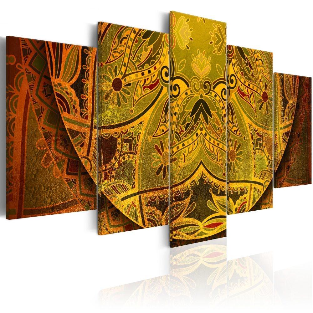 Schilderij - Mandala: Kracht van Goud , Goudlook , 5 luik