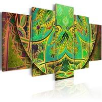 Schilderij - Mandala: Groen Energie , 5 luik