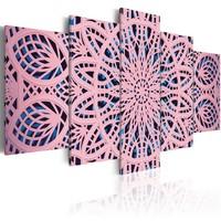 Schilderij - Exotisch Roze , Mandala , 5 luik
