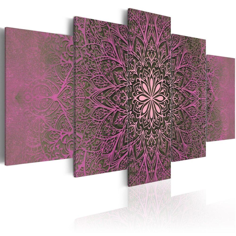 Schilderij - Cirkel van Liefde , Mandala , 5 luik