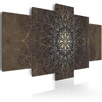 Schilderij - De Harmonie van de Ziel , Mandala , 5 luik,