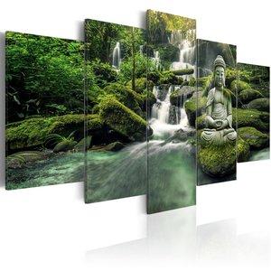 Schilderij - Hemels Bos , Boeddha voor waterval . 5 luik
