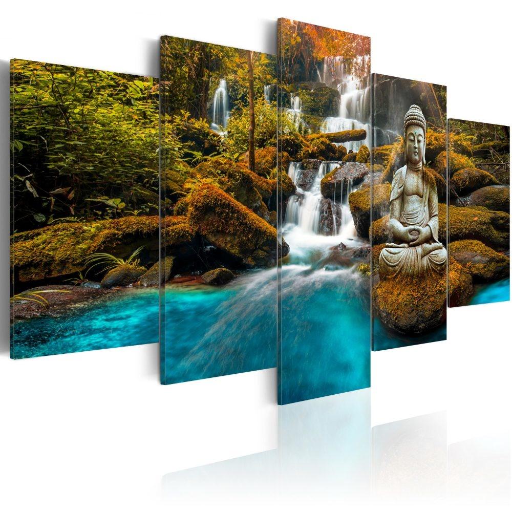 Schilderij - Enclave van Stilte , Boeddha voor waterval in bos , 5 luik