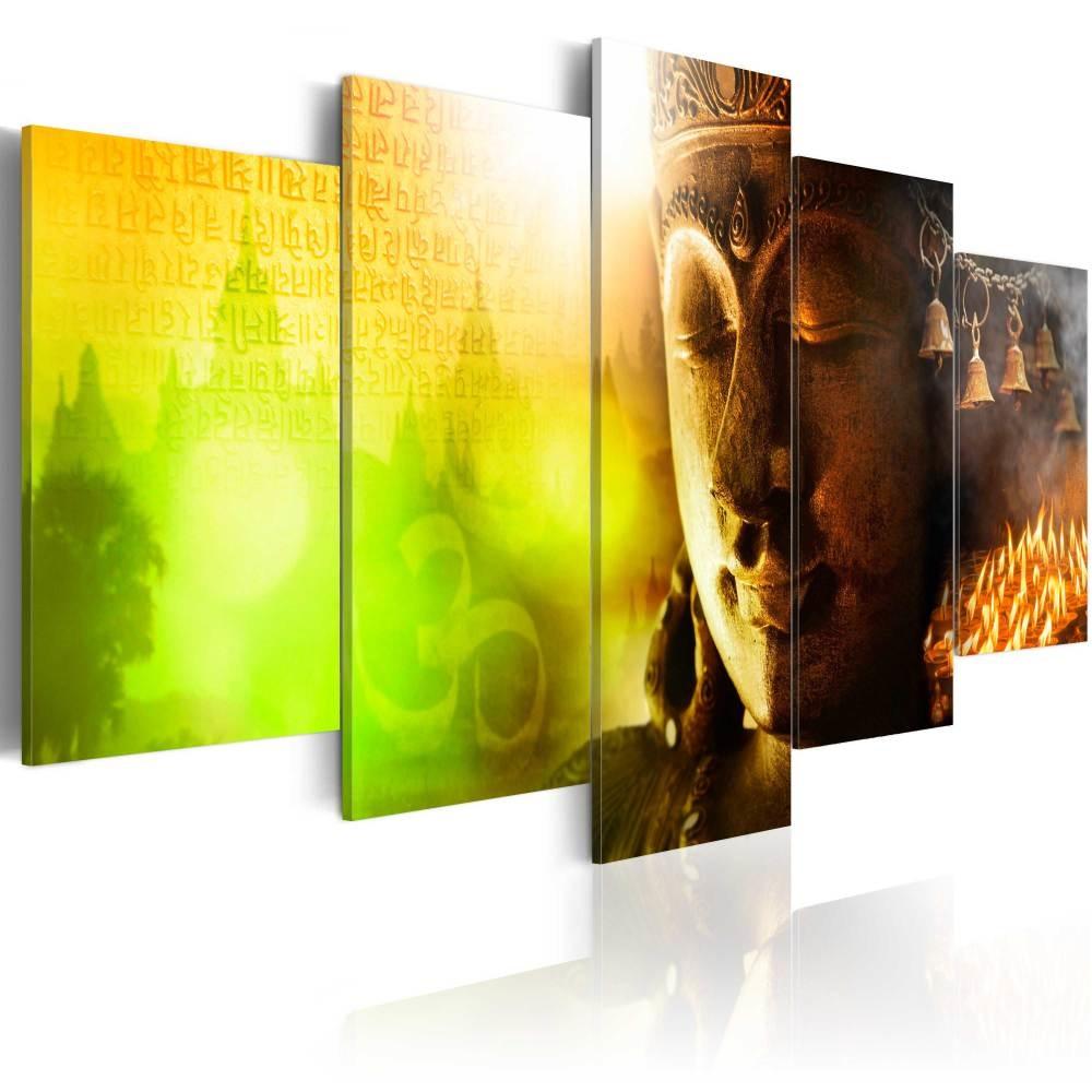 Schilderij -De Kracht van Vrede , Boeddha , 5 luik