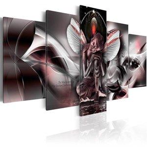 Schilderij - Mythische Boeddha , rood tinten , 5 luik