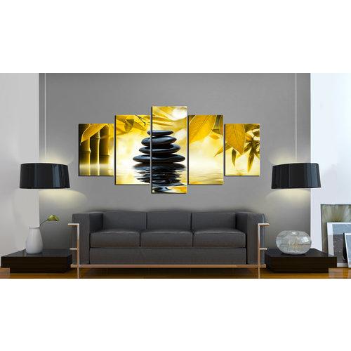 Schilderij - Zen Saffloer ontspanning , Bamboe en Stenen , 5 luik