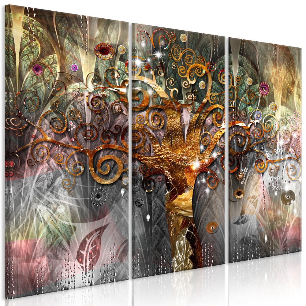 Schilderij - Gouden Boom , Goudlook , 3 luik