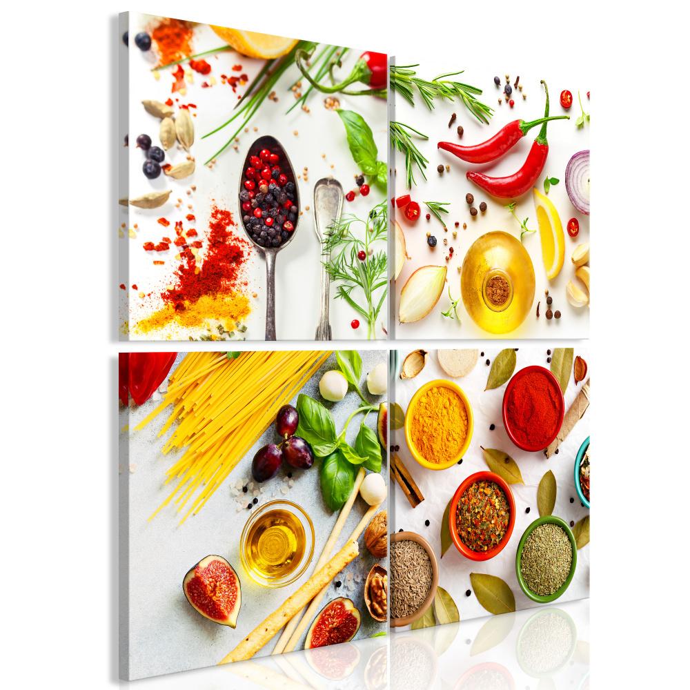 Schilderij - Kruiden van de wereld, keuken, 4 delen