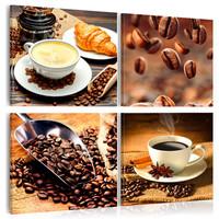 Schilderij - Koffie , Ochtend Kwartet , 4 luik