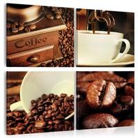 Schilderij - Coffee , Koffie proeverij , 4 luik