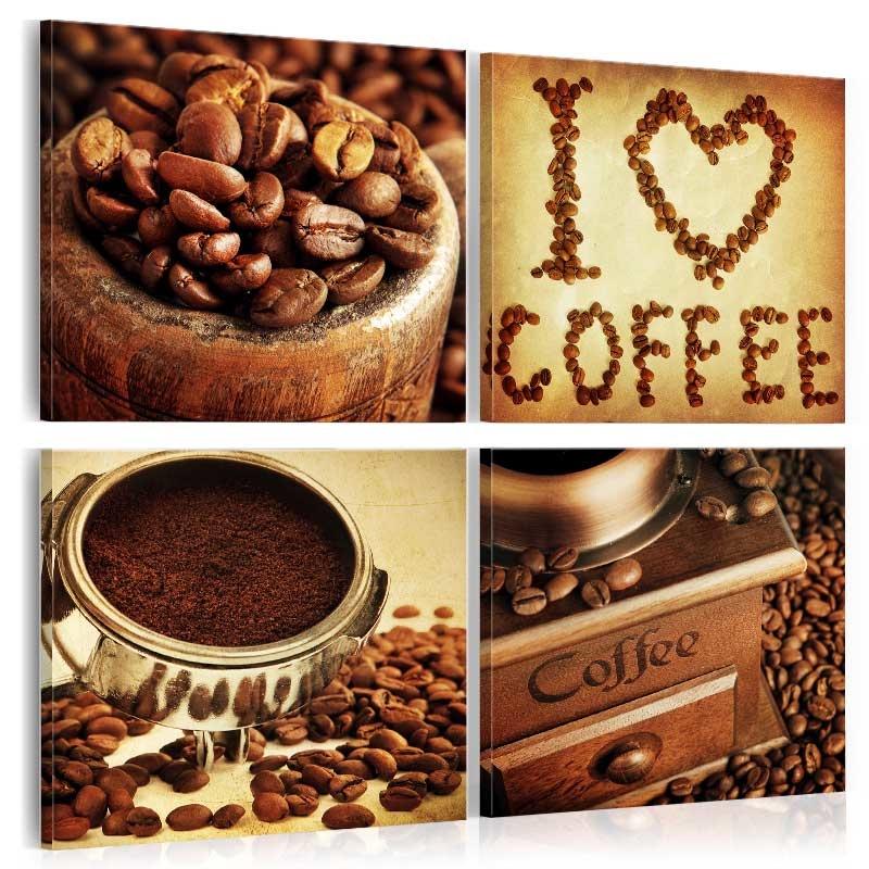 Schilderij - Coffee - Koffie , aangename momenten , 4 luik
