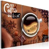 Schilderij - Kopje Koffie , 3 luik