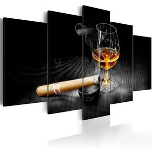 Schilderij - Sigaar en Whiskey IV , Mannenwereld , 5 luik