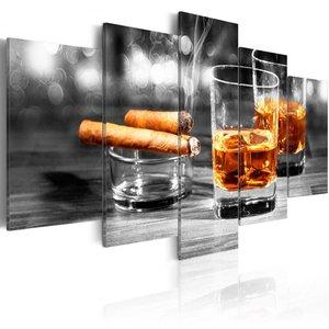 Schilderij - Sigaar en Whiskey III , Mannenwereld , 5 luik